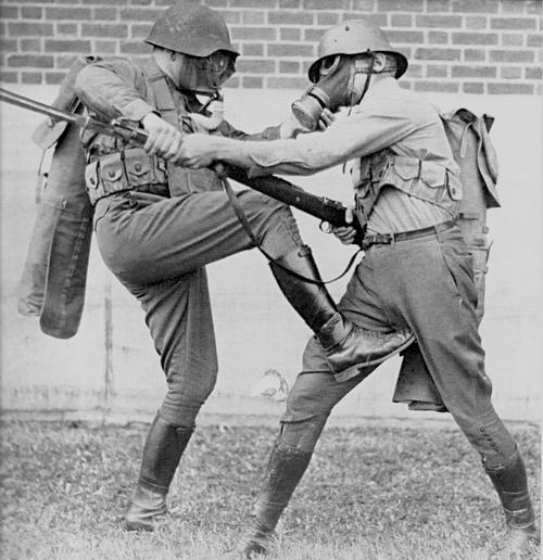 World war II. Hand to hand combat (spike kick to groin)